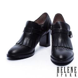 高跟鞋 HELENE SPARK 英倫學院風流蘇繫帶造型高跟鞋-黑