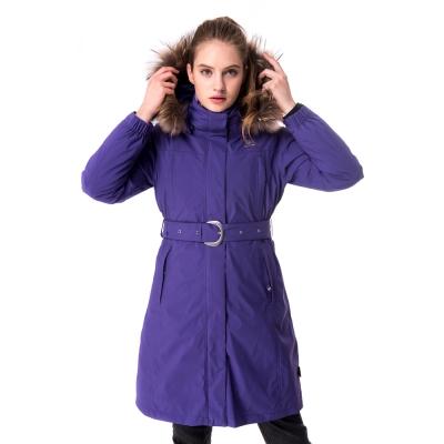 【hilltop山頂鳥】女款GoreTex兩件式防水羽絨長大衣F21F69紫