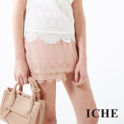 ICHE-衣哲-蕾絲釘珠拼接褲裙