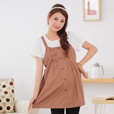 【Keep Chic孕婦裝】咖啡色假兩件造型排扣哺乳上衣