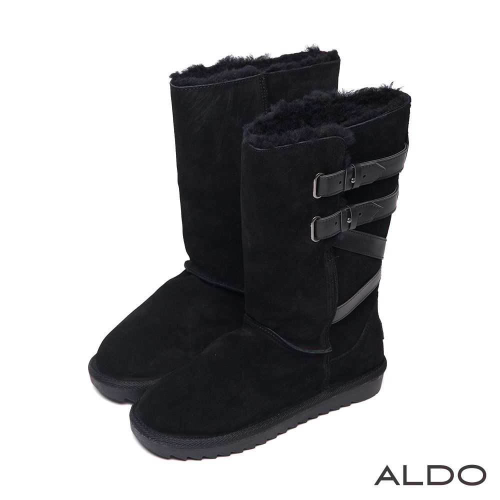ALDO 經典不敗麂皮毛絨側後條帶飾長筒雪靴~百搭黑