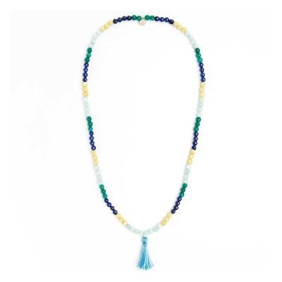 Pura Vida 美國手工 MALA BEAD 水藍色流蘇 藍綠色圓珠項鍊