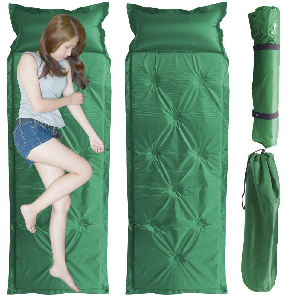 露營防潮自動充氣床墊-單人尺寸(軍綠)二個