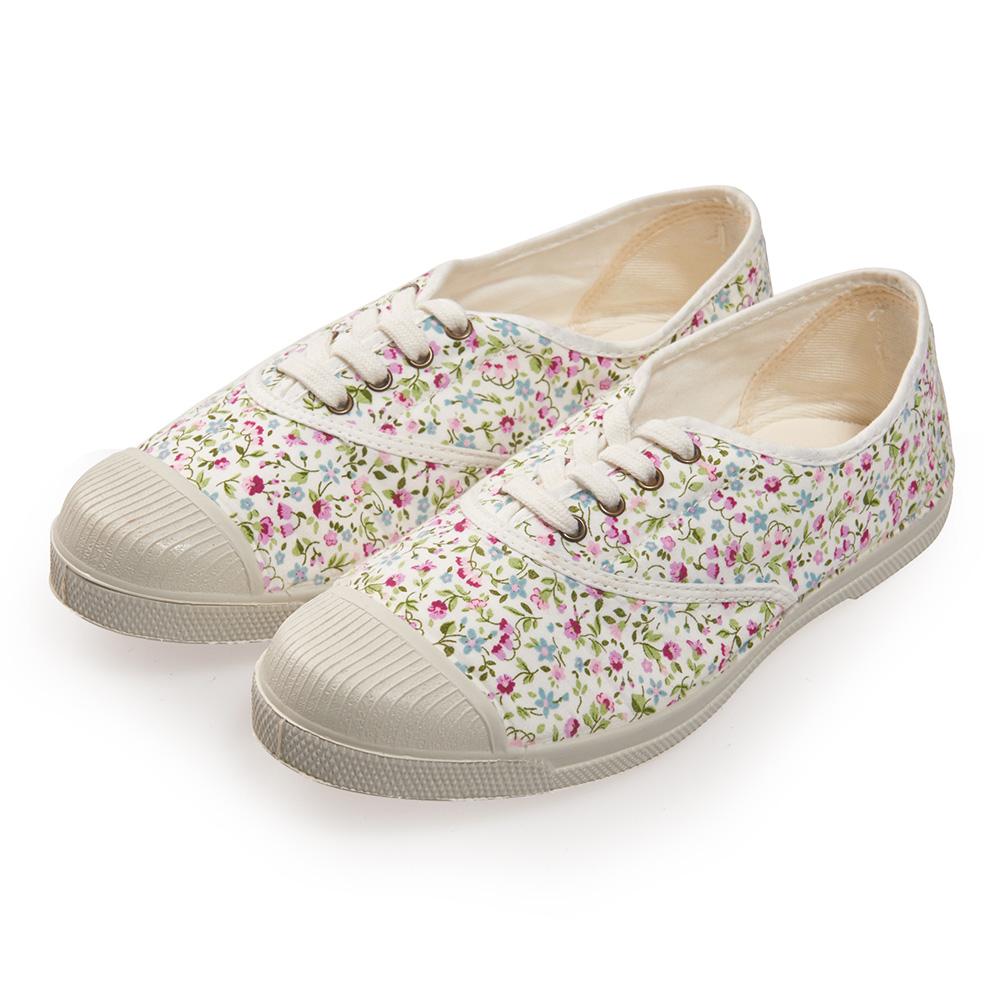 (女)Natural World 西班牙休閒鞋 碎花4孔綁帶基本款*白色
