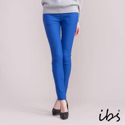 ibs 顯瘦彈力磨毛色褲-寶藍-女