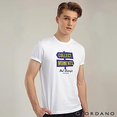 GIORDANO 男裝棉質熱愛旅行印花圓領T恤-08 標誌白