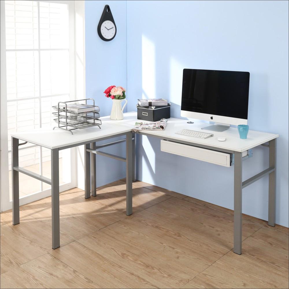 BuyJM低甲醛仿馬鞍皮160+80公分L型單抽屜穩重工作桌-DIY