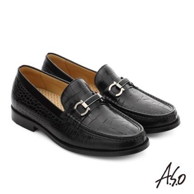 A.S.O 尊榮青紳 真皮金屬飾釦直套式紳士皮鞋 黑色