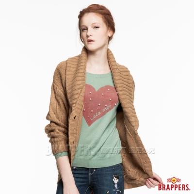 BRAPPERS 女款 大翻領長袖針織外罩衫-駝色