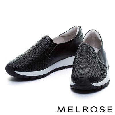 休閒鞋-MELROSE-編織造型全真皮厚底休閒鞋-黑