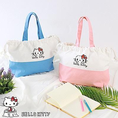 野餐系列~KITTY印圖束口拼色帆布包-OB大尺碼