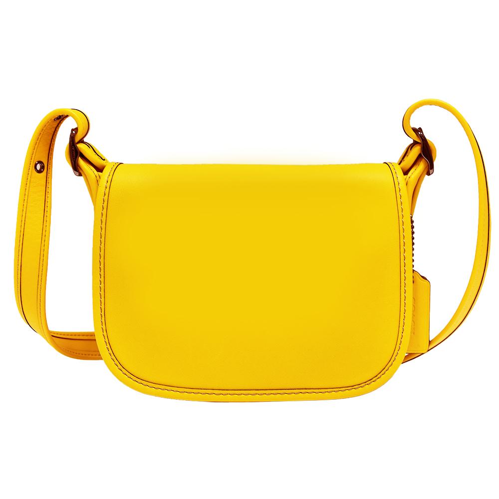 COACH 掀蓋式皮革斜背馬鞍包-黃色(迷你)COACH