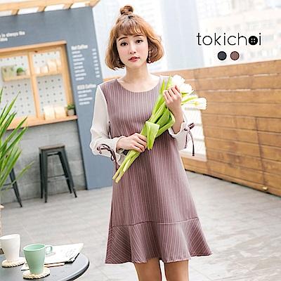 東京著衣 百褶袖條紋魚尾裙洋裝-S.M(共二色)