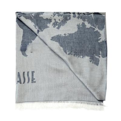 Alviero Martini 義大利地圖 水洗感地圖絲巾-藍灰(80X180)