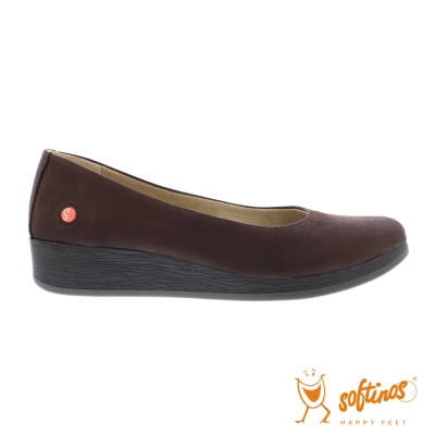 SOFTINOS(女)  輕巧圓頭牛皮休閒鞋-紅