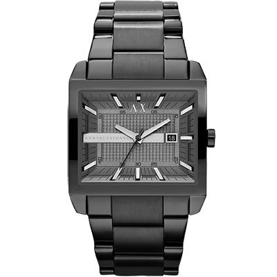 A│X Armani Exchange 立體視覺方型腕錶-IP黑44mm