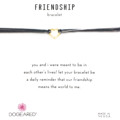 Dogeared Friendship 金色愛心手鍊 迷你墜 黑X灰 防水繩衝浪手鍊