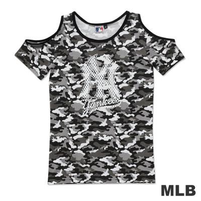 MLB-紐約洋基隊迷彩露肩植絨T恤-灰(女)