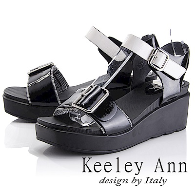 Keeley Ann 俐落時尚~金屬飾釦拼接千鳥格紋涼鞋(黑色-Asin系列)