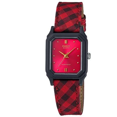 CASIO 復古蘇格蘭格紋時尚風指針腕錶(LQ-142LB-4A)-紅面/22.5mm