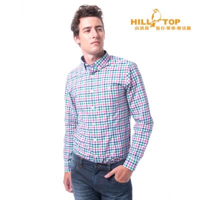 【hilltop山頂鳥】男款吸濕排汗抗UV長袖襯衫S05M60紅綠格