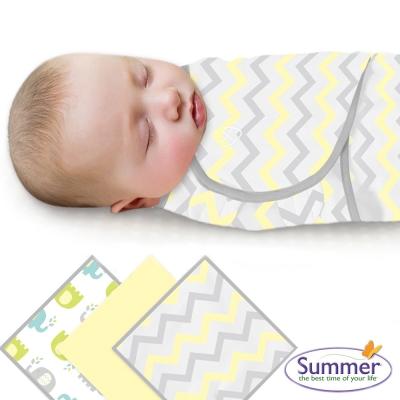 美國 Summer Infant 嬰兒包巾, 純棉3入 (小象條紋)