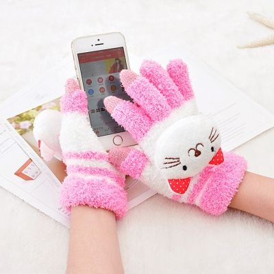 Seoul-Show-卡通動物防寒保暖毛巾布觸控手套-貓咪