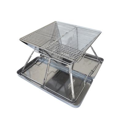 高級不鏽鋼烤肉架/焚火台-盒裝便攜型