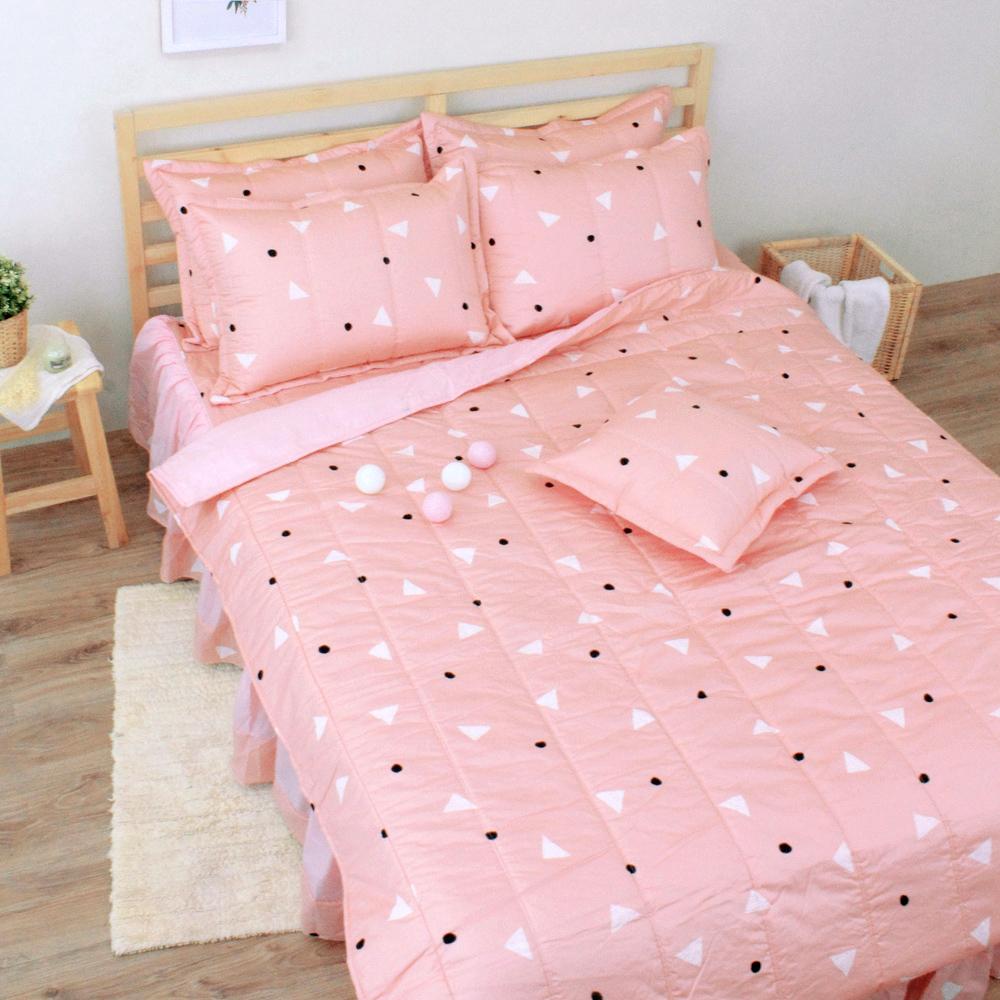 艾莉絲-貝倫 清新日和 100%純棉 五件式單人鋪棉床罩組-二色