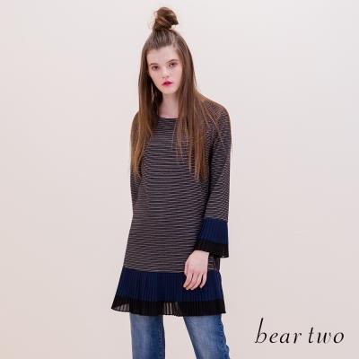 beartwo-異材質條紋拼接雪紡小喇叭袖上衣-二色