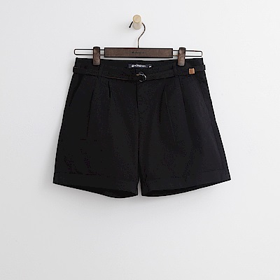 Hang Ten - 女裝 - 小反摺腰帶短褲-黑色