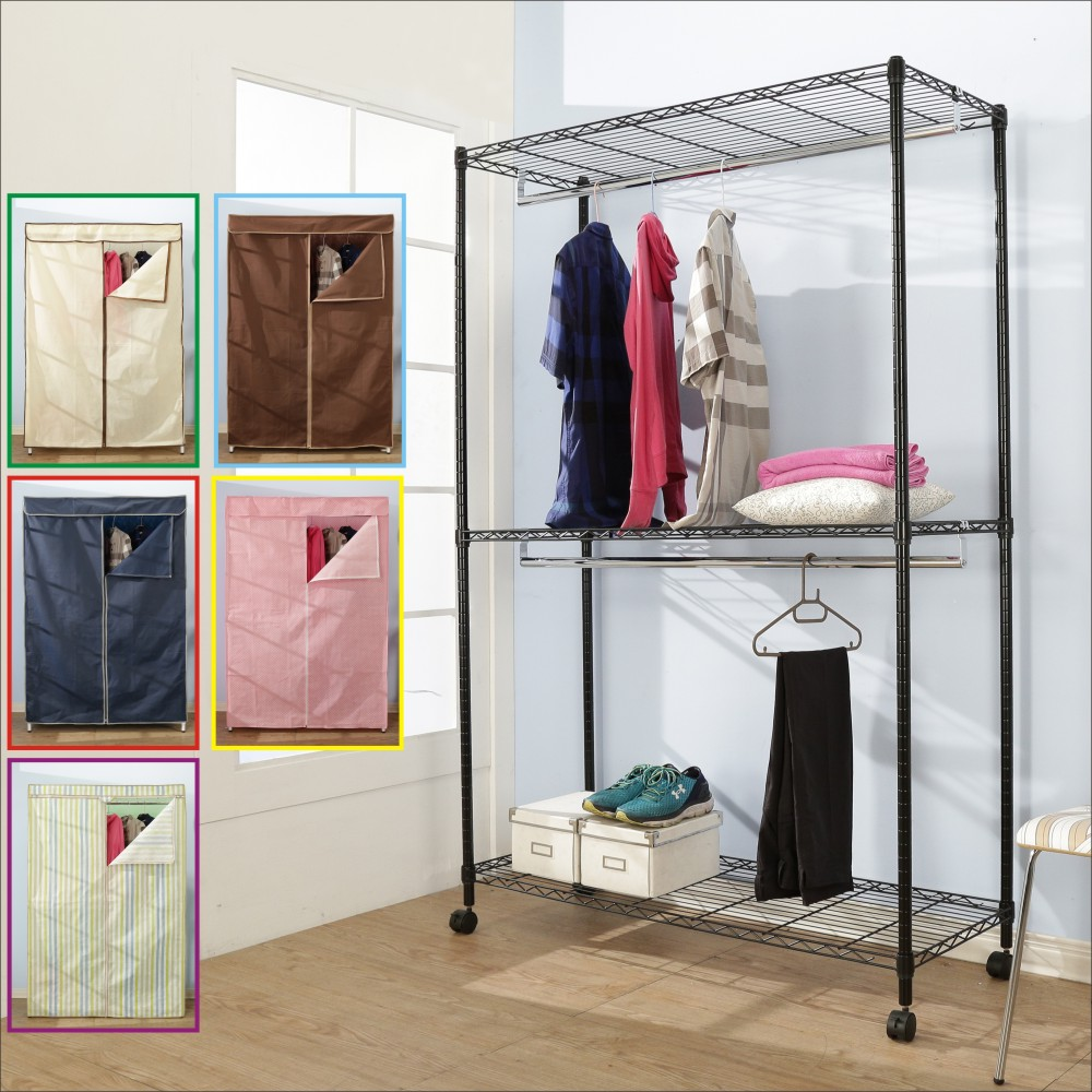 BuyJM鐵力士黑烤漆強固型三層雙桿布套衣櫥附輪120x45x185CM-DIY
