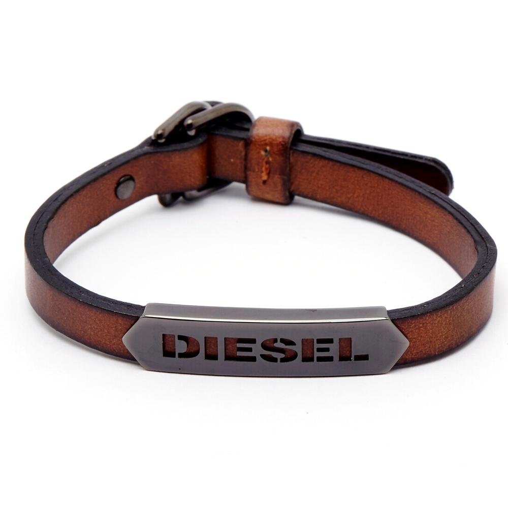 DIESEL 懷舊咖啡色LOGO皮革手環