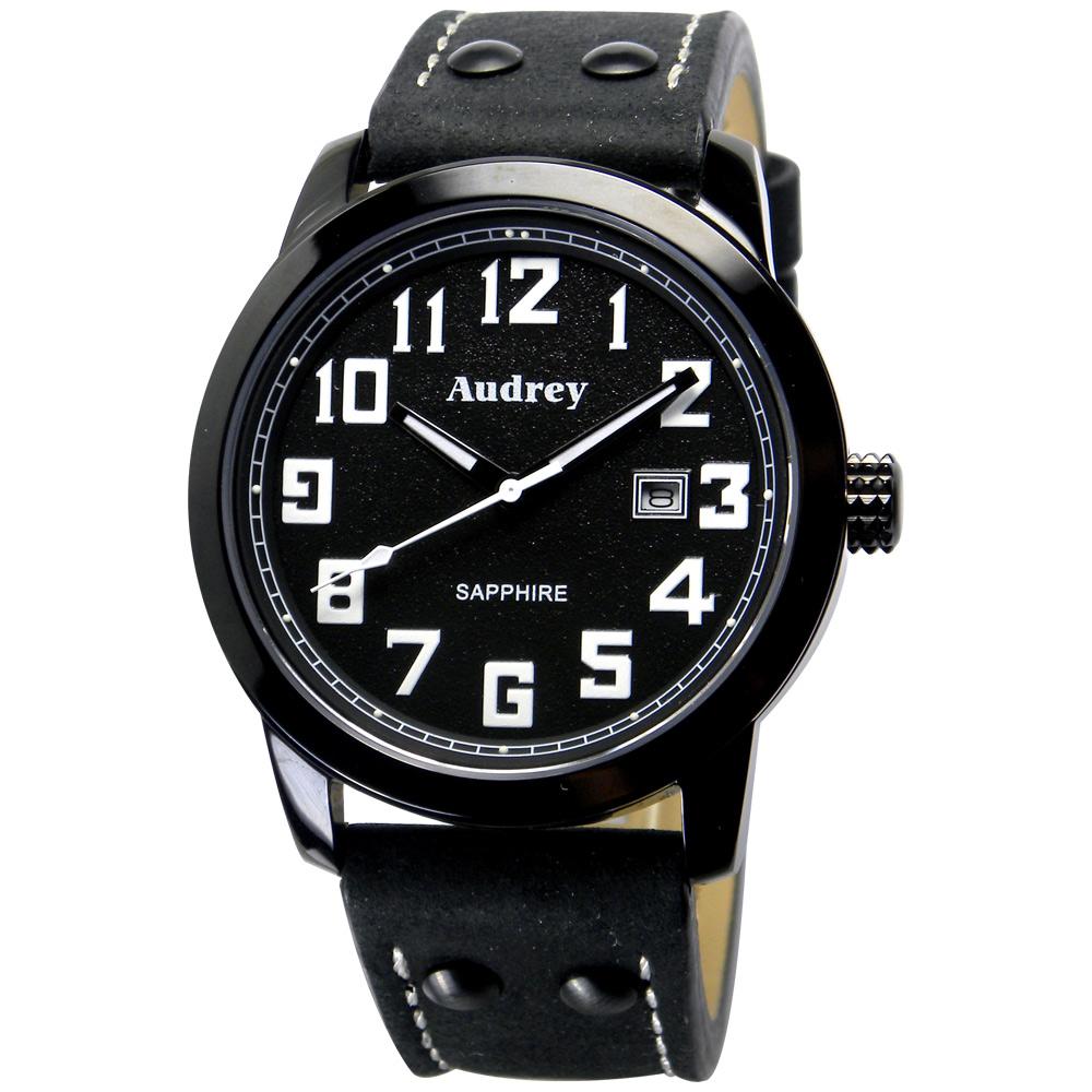 Audrey 歐德利 世界飛行 質感簡約風格腕錶(AUM5655)-黑/41mm