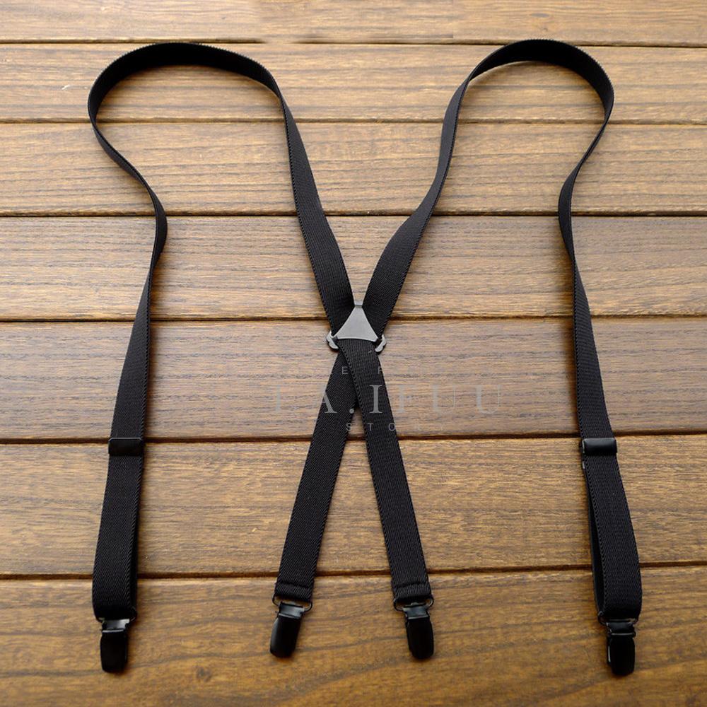拉福  四夾2cm皮質黑金鋼高質感西裝吊帶