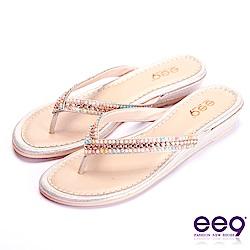 ee9 經典手工奢華閃耀鑲嵌亮鑽露趾夾腳拖鞋 金色
