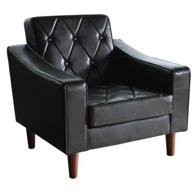H&D Classic摩登典藏復古拉塔單人皮革沙發-黑色