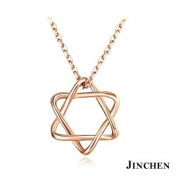 JINCHEN 白鋼六芒星女性項鍊-玫瑰金