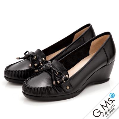 G-Ms-MIT系列-知性學院-手工縫線蝴蝶結全真皮楔型鞋-實搭黑