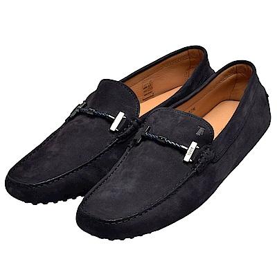TOD-S GOMMINO MOCASSINO麂皮皮革繩帶手工豆豆鞋-男-黑