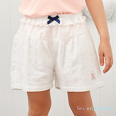 les enphants 清甜蕾絲蝴蝶結短褲 白色