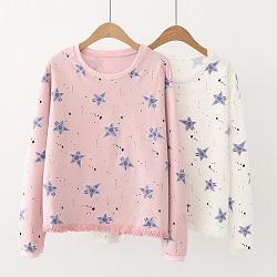 日系森女系甜美星星圖印上衣