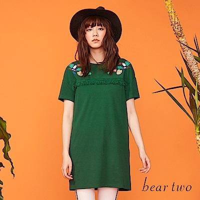 beartwo 夏日民族流蘇圖樣長版洋裝(二色)