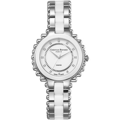 Christian Bernard 伯納錶 渡假天堂棕櫚樹鑽錶 -白陶瓷/38mm