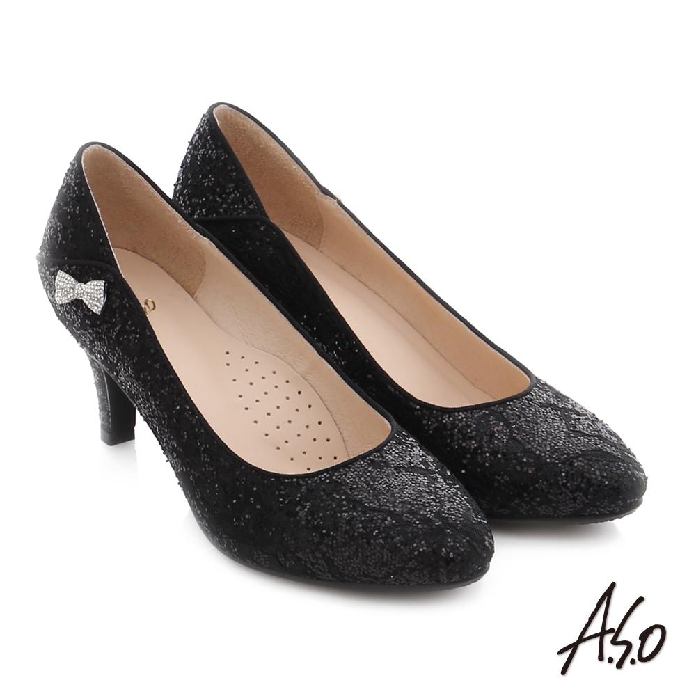 A.S.O 幸福華爾滋 精緻蕾絲水鑽高跟鞋 黑色