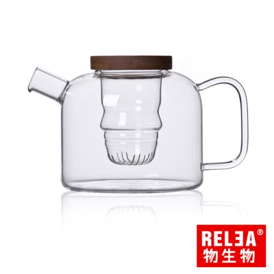 香港RELEA物生物 竹蓋玻璃人形花茶壺750ml