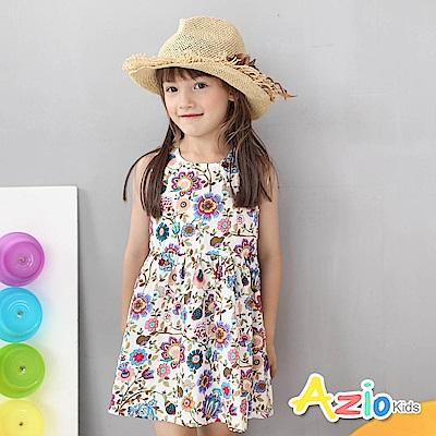 Azio Kids 童裝-洋裝 彩花後線繡兔子無袖洋裝(白)