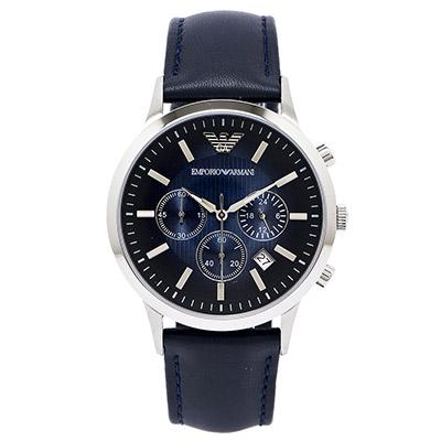 ARMANI Sportivo 勁裝男性皮革手錶(AR2473)藍色面x靛色/42mm