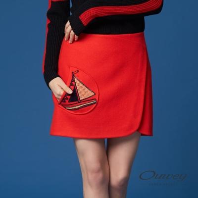 OUWEY歐薇 帆船縫線裝飾毛呢褲裙(紅)