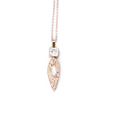 Anna Lou OF LONDON倫敦品牌hammered diamond方鑽玫瑰金項鍊